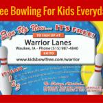 Kids Bowl Free at Warrior Lanes!