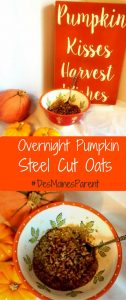Overnight Pumpkin Oats for fall and busy families!