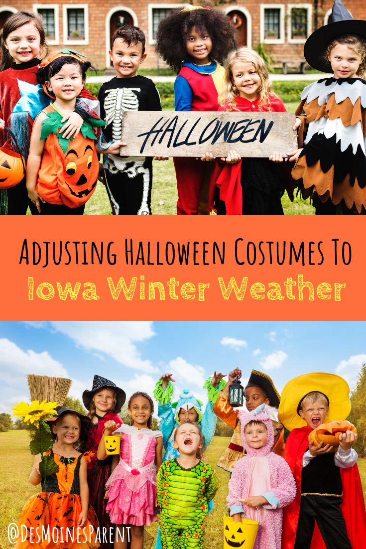 adusting halloween costumes to iowa winter weather