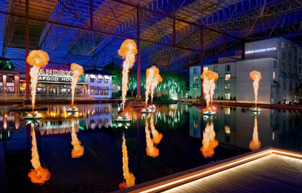 The Fire and Light Show at St. Louis Union Station family entertainment complex in St. Louis, Missouri.