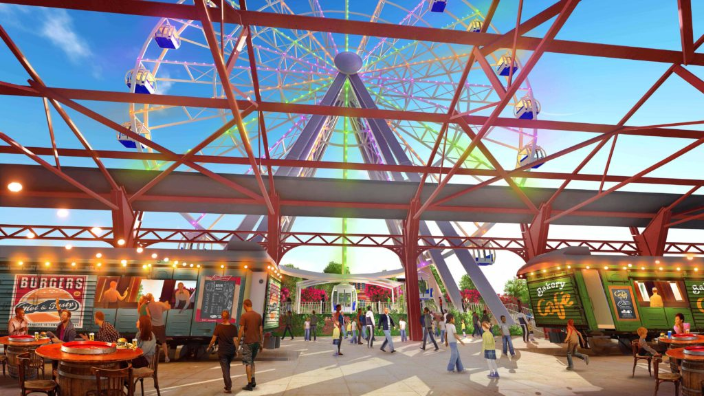Behind the scenes look at the future St. Louis Wheel at the St. Louis Union Station Family Entertainment Complex in St. Louis, Missouri.