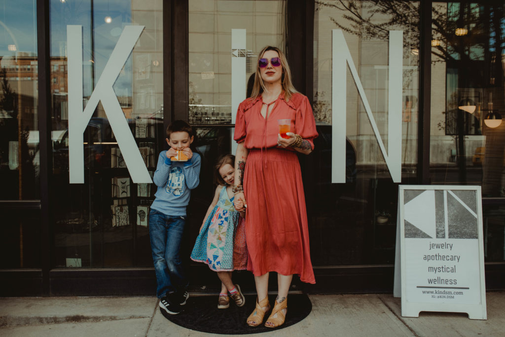 Des Moines Parent Spotlight on Heather Ann Roe, owner of KIN located in the East Village in Des Moines, Iowa.