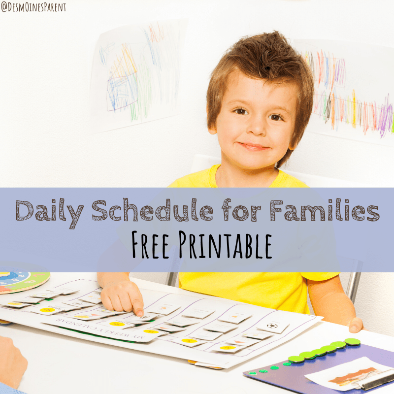 Printable Daily Schedule for Families